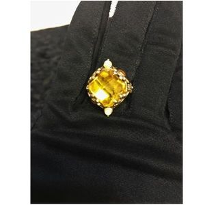 Vintage Old Hollywood 1960's  Yellow Stone Ring